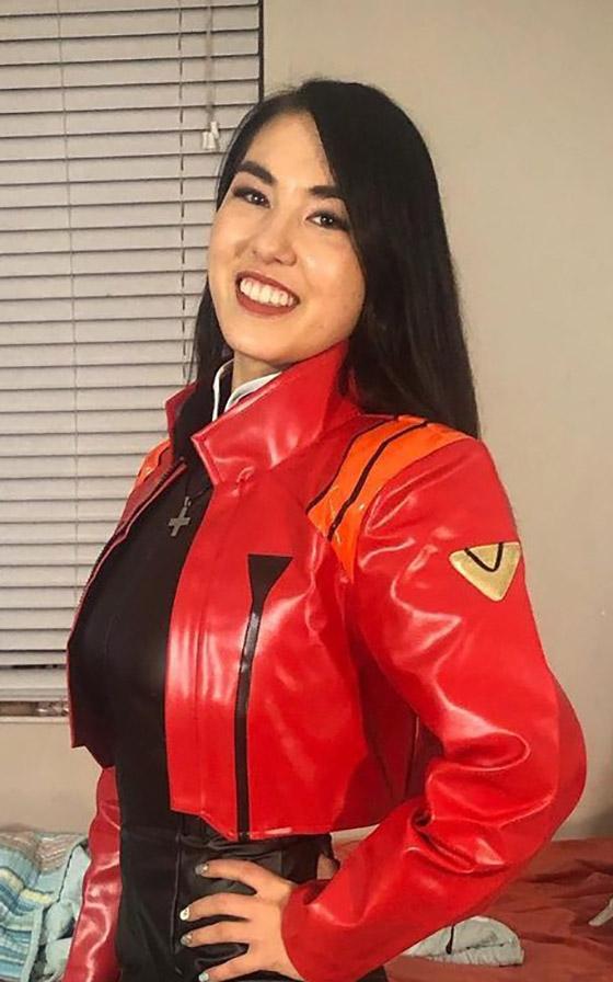 Mina Moon with red jacket
